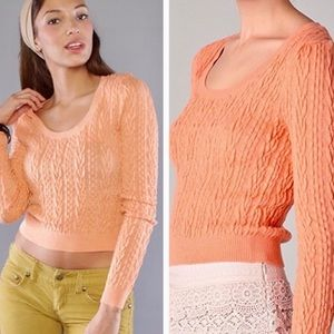 Free people cable guy knit cropped sweater NWT